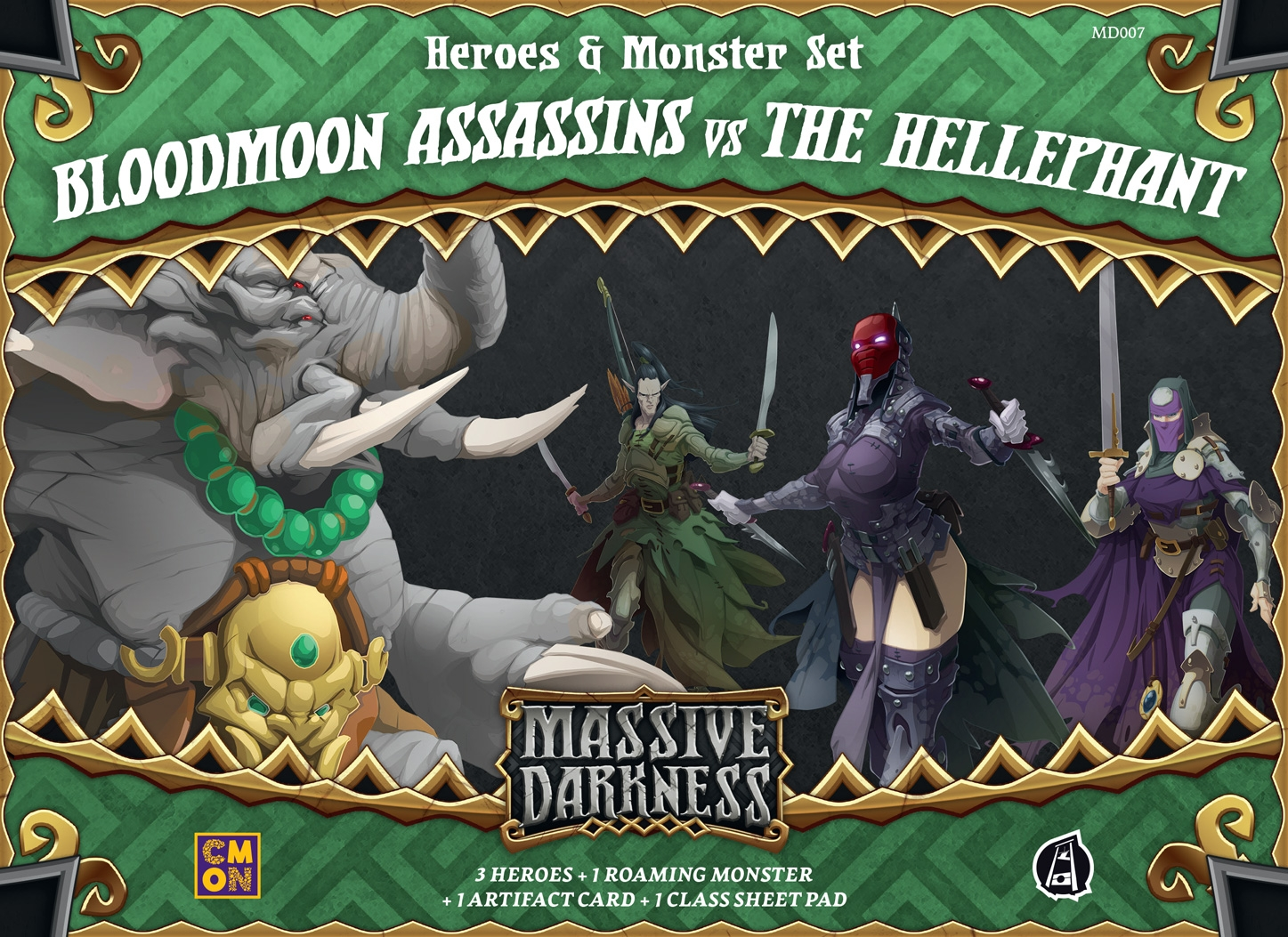 Massive Darkness: Heroes & Monster Set: Bloodmoon Assassins vs The Hellephant