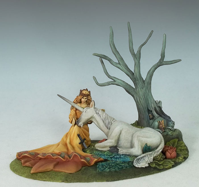 The Seduction - Maiden with Unicorn - Diorama