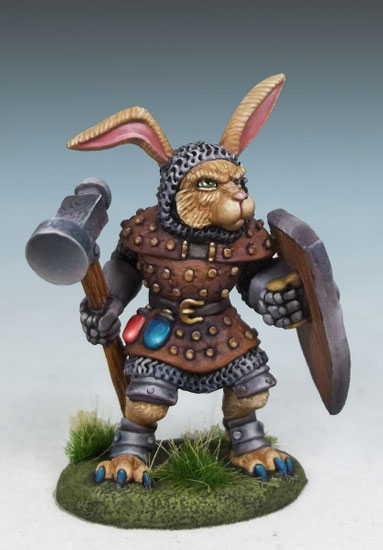 Rabbit Cleric with Warhammer and Shield