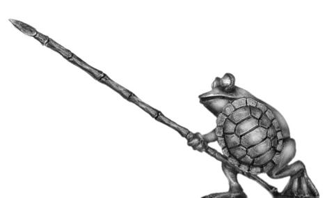Frog with pike advanced and turtle shell shield - front ranker