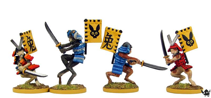 Rabbit Samurai in helmet, back banner, with katana