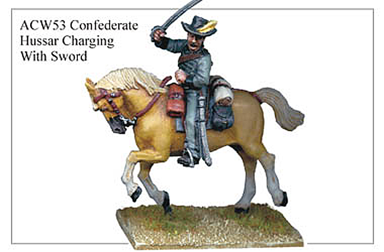 40mm American Civil War  - Confederate Hussar Charging With Sword