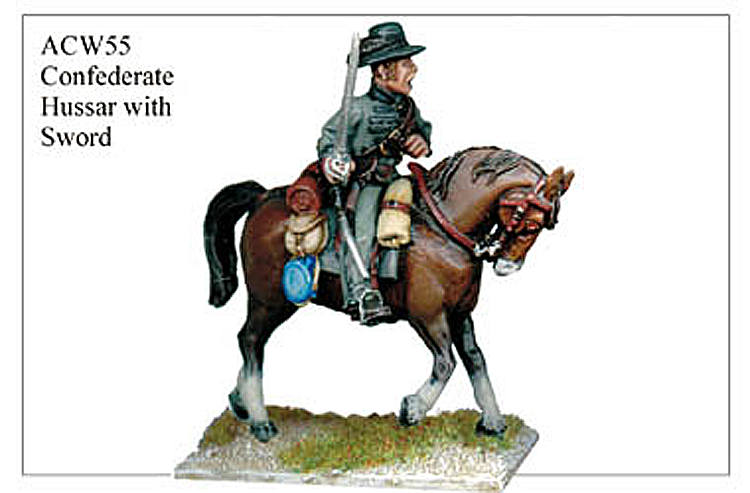 40mm American Civil War  - Confederate Hussar With Sword