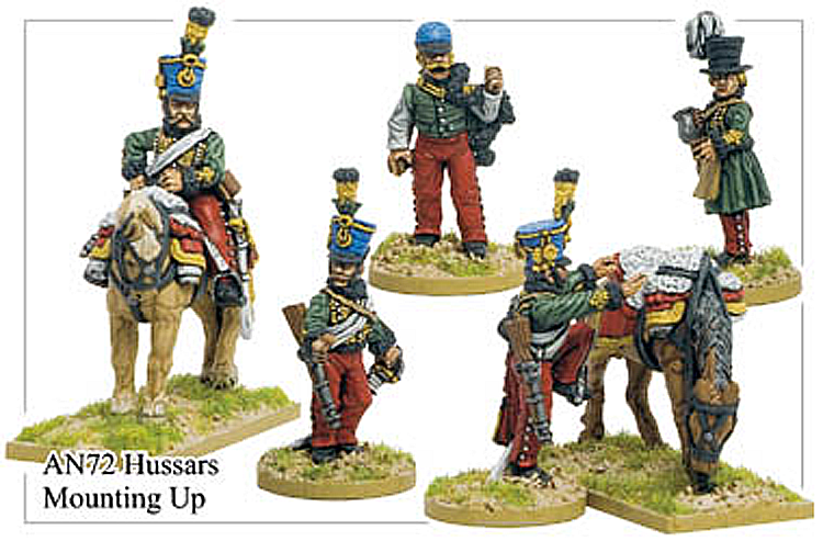 Napoleonic Austrian - Hussars Characters Mounting Horses