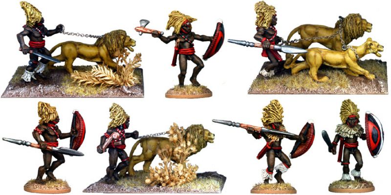 Masai Warriors with Lions Mane Headdress (regrettably this pack does not actually come with any lions. Try our: Lions King Of The Beasts - GPR023)