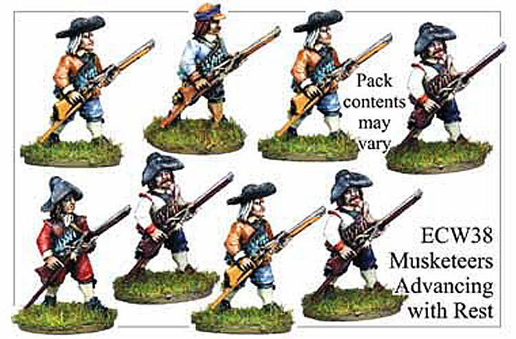 English Civil War British - Musketeers Advancing With Musket Rest