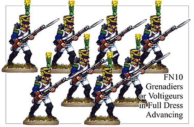Napoleonic French - Grenadiers Or Voltigeurs In Full Dress Advancing