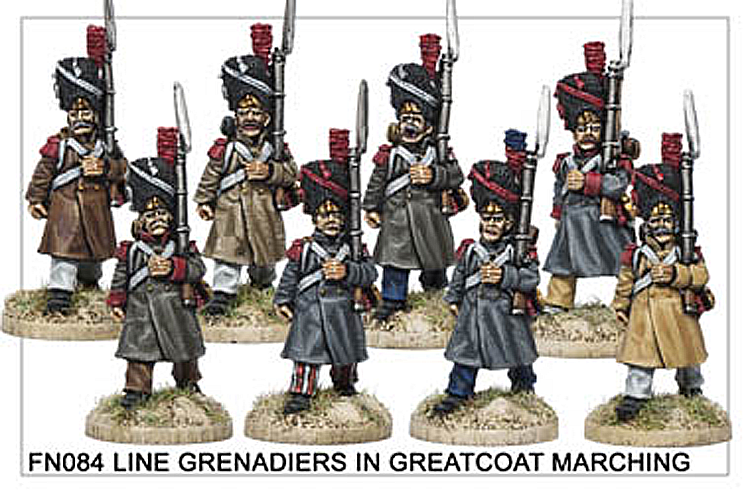 Napoleonic French - Line Grenadiers In Greatcoat Marching
