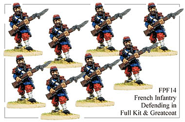 Franco Prussian French - French Infantry In Great Coats And Full Kit Defending