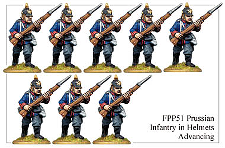 Franco Prussian Prussian - Prussian Infantry In Full Dress Advancing
