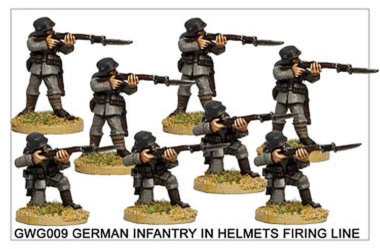 WW1 Great War German - German Infantry In Helmets Firing Line