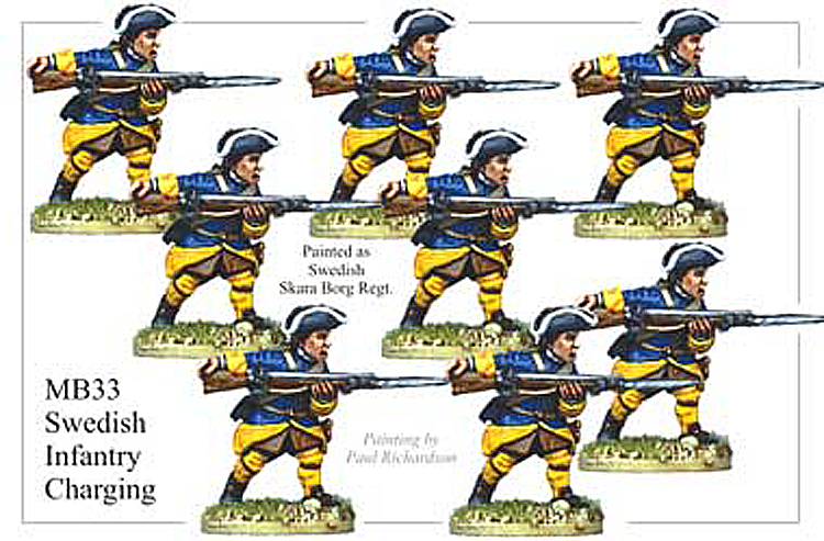 Marlburian Swedish - Swedish Infantry Charging