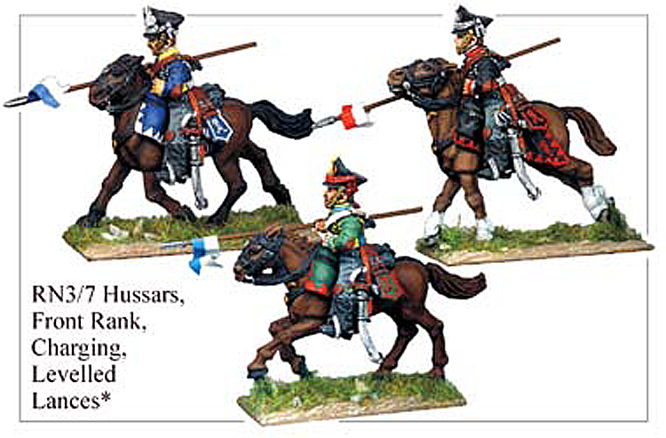 Napoleonic Russian - Hussars Front Rank Lance Armed Charging