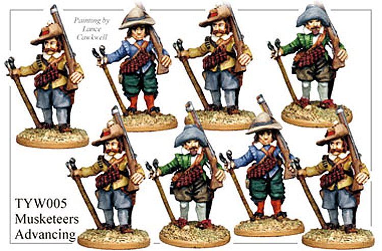 English Civil War German - Thirty Years War Musketeers Advancing