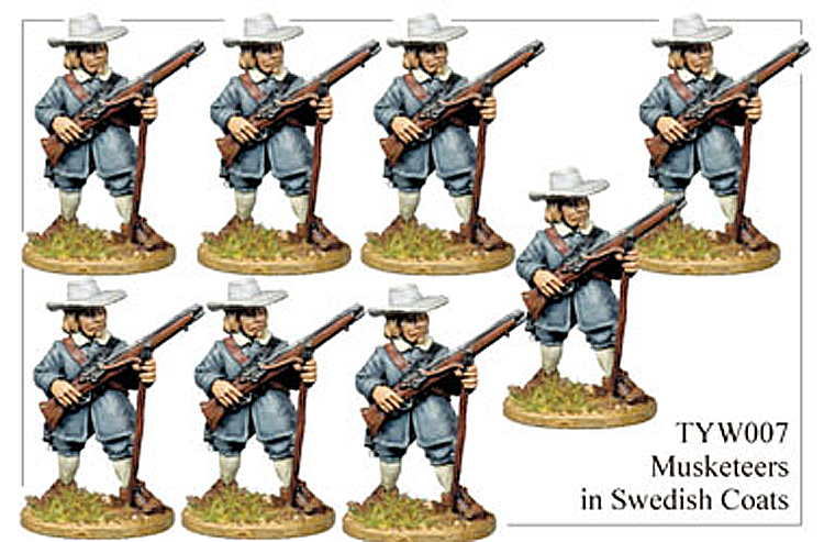 English Civil War German - Thirty Years War Musketeers In Long Swedish Coats