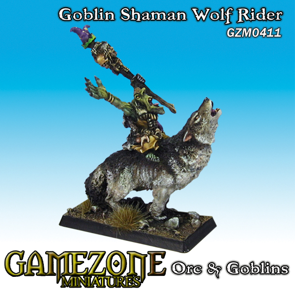 Gamezone Miniatures: Orcs and Goblins - Goblin Shaman Wolf Rider