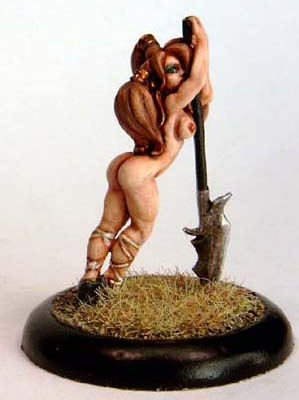 Gayle, female leaning on  spear