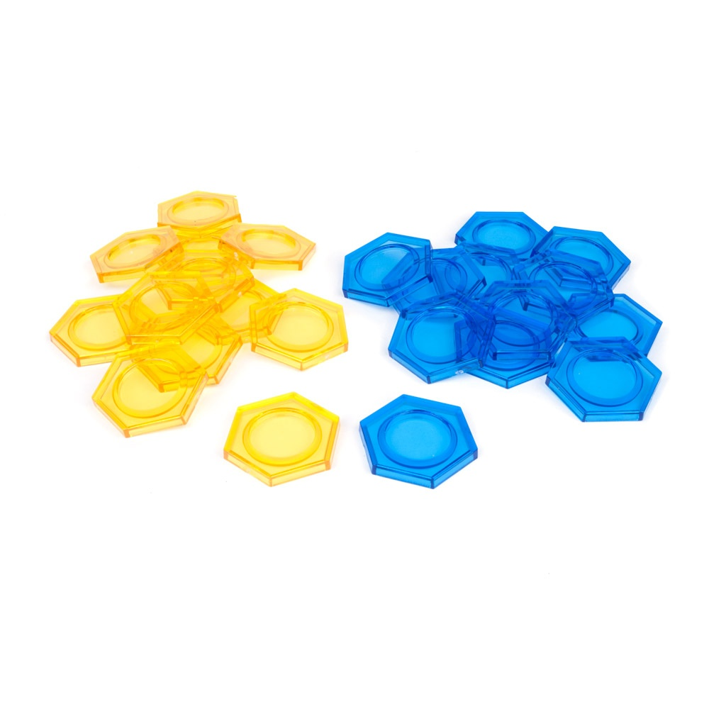 DreadBall Xtreme Hex Bases – Blue/Yellow