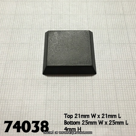 "1"" Square Plastic Flat Top Base"