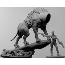 Here's another look at the unfinished sculpt of Fenrir, with a human figure in a similar scale to our Vikings for a size comparison. This will be truly a glorious beast!